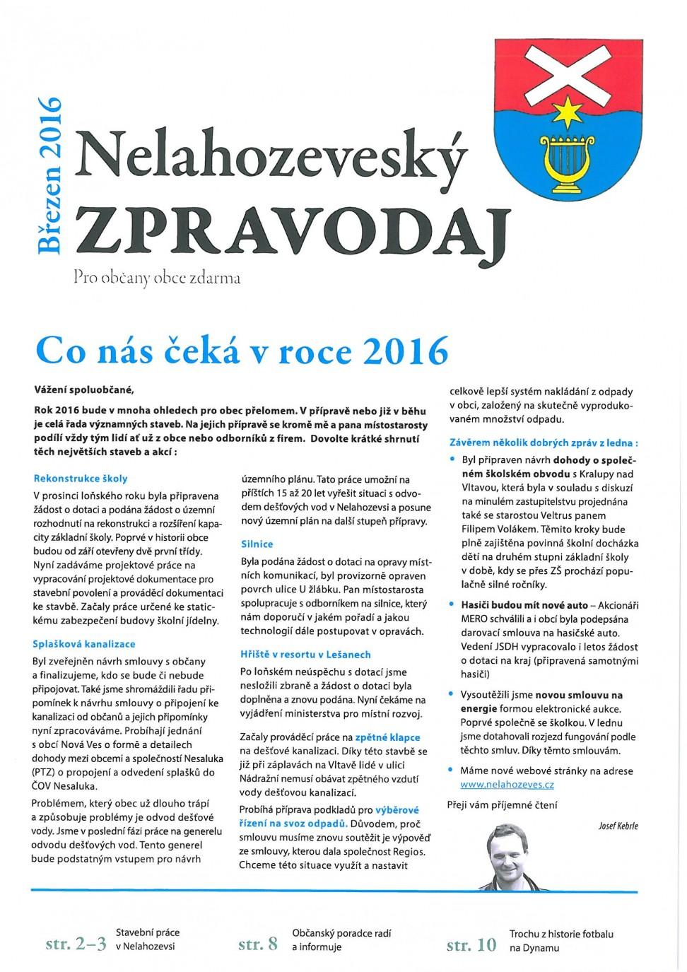 Zpravodaj - březen 2016
