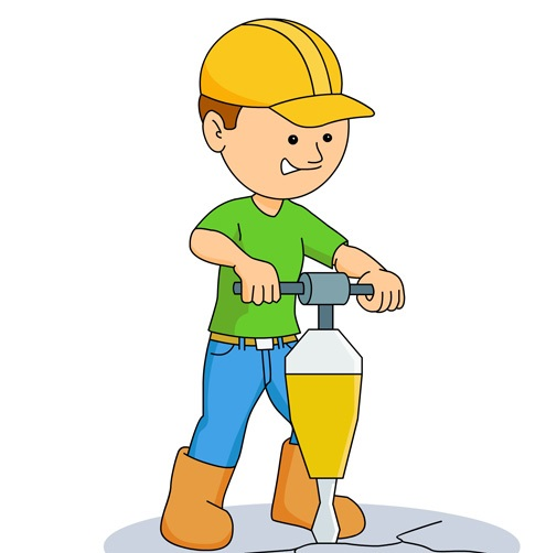 man drilling on ground with jackhammer clipart